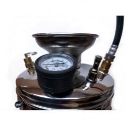 Top view showing pressure gauge, tire valve, release valve